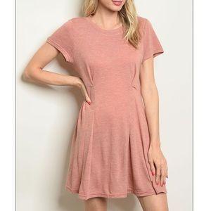 Blush Short sleeve round neck jersey tunic dress.
